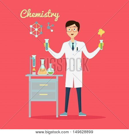 Chemistry banner concept flat style. Scientist chemist in a laboratory flask in hands holds a science experiment isolated on a red background. Technology research and experiment. Vector illustration