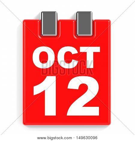 October 12. Calendar On White Background.