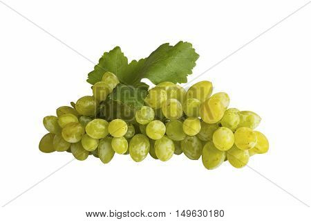 Green grape bunch isolated on white background. Selective focus.