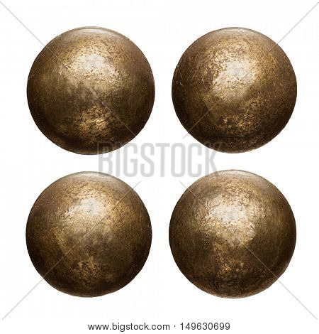 Old metal rivet heads isolated on white.