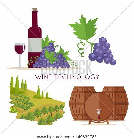 Wine technology icon set. Bottle of wine, beaker, vineyard, wooden barrels. Vinification enology. Check elite vintage red vine. Part of series of viniculture production and preparation items. Vector