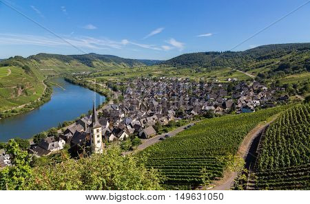 View of Bremm at the Mosel with Moselschleife.