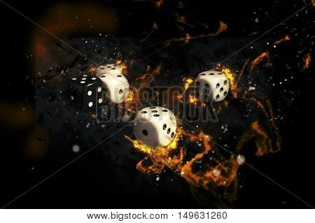 White and black gambling dices on fire.