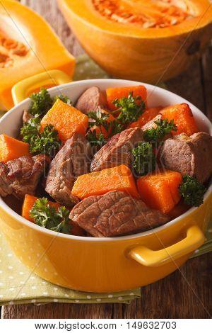 Beef Stew With Pumpkin Macro In A Pot. Vertical