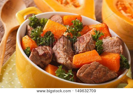Beef Stew With Pumpkin Macro In A Pot. Horizontal