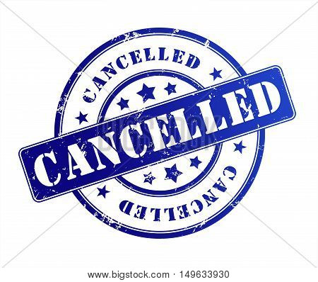 cancelled rubber stamp illustration isolated on white background