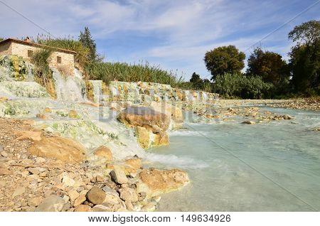 Waterfalls and hot springs at Saturnia thermal baths.