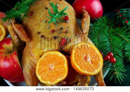 Festive Christmas duck baked with apples and mandarins.