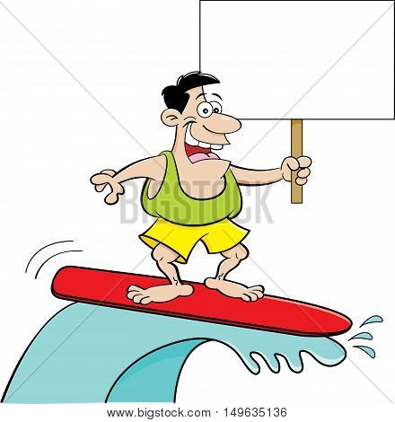 Cartoon illustration of a man surfing while holding a sign.