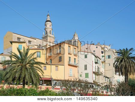 Old Town of Menton at French Riviera,Cote d`Azur,South of France