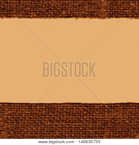 Textile thread, fabric element, brown canvas, crisscross material old-fashioned background