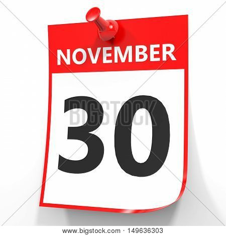 November 30. Calendar On White Background.