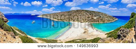 Turquoise crystal beaches of Greece - panorama of Kounoupa island