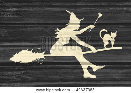 Illustration of flying young witch icon. Witch silhouette on a broomstick. Cat sit on broom. Halloween relative image. Wood texture poster