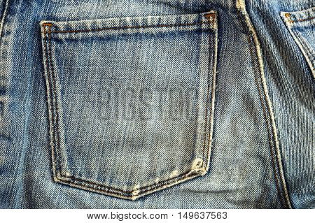 Background image of an old blue jeans.