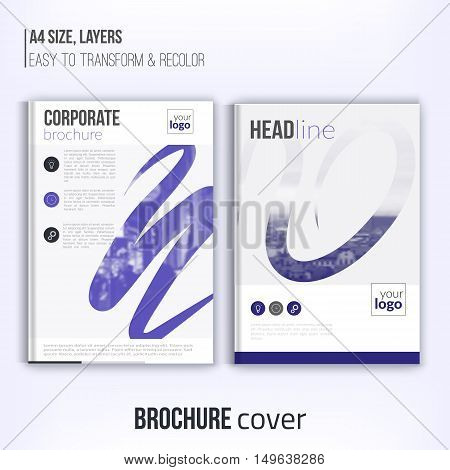 Clean brochure cover template with blured duotone city landscape and abstract shapes. Blue Corporate identity. Business design, flyer, professional