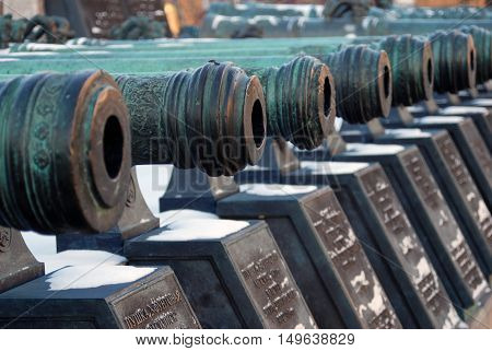 MOSCOW - JANUARY 01, 2016: Old cannons in Moscow Kremlin. UNESCO World Heritage Site. Color photo.