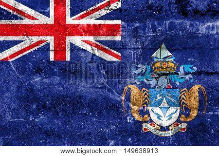 Flag Of Tristan Da Cunha (part Of Saint Helena, Ascension And Tristan Da Cunha), Painted On Dirty Wa