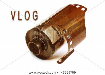 Vlog or video blog. Vlogging concept. Selective focus.