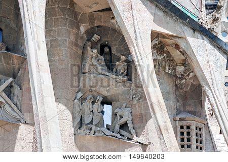 Partial view of the Sagrada Familia, a large Roman Catholic church in Barcelona, Spain