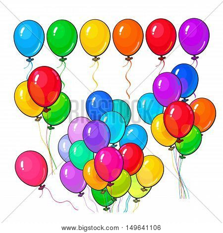 Bright and colorful balloons, big set of various arrangements, cartoon vector illustration isolated on white background. Line, bunch, group of multicolored balloons, birthday, party decoration