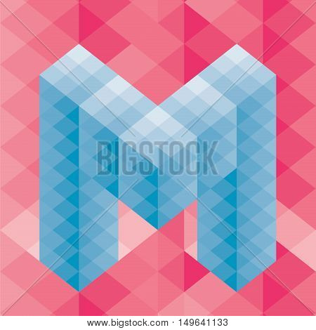 The letter M. Abstract vector background, pattern diamonds, transition from light to dark, best texture for you business