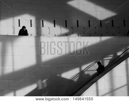 March 10th 2014 Los Angeles California  Image of a Homeless man watching People go By.