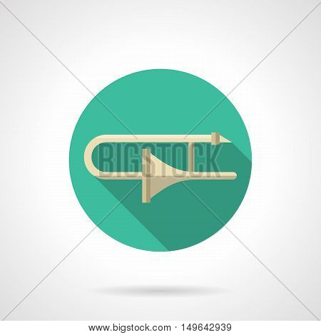 Classical trombone a side view. Brass wind musical instruments. Symphonic, orchestra, jazz big band music. Round flat color design vector icon.
