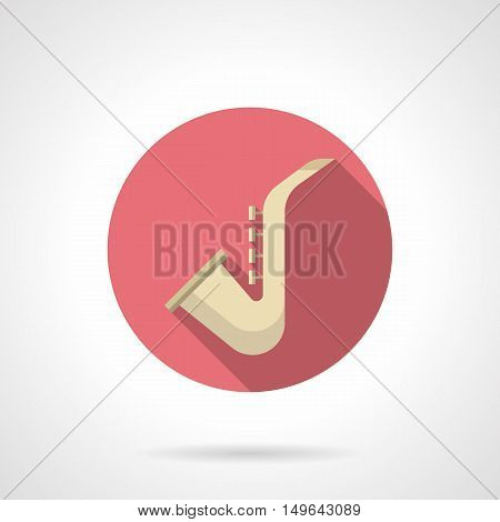 Classical golden saxophone. Brass and woodwind musical instruments. Professional equipment for jazz band, orchestra, different entertainment. Music store button. Round flat color design vector icon.