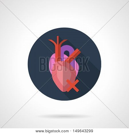 Anatomical human heart with vein, aorta and red crossed sign. Symbol of harm for organs. Health care and social problems concept. Round flat color design vector icon.