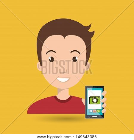 man cellphone camera images vector illustration eps 10