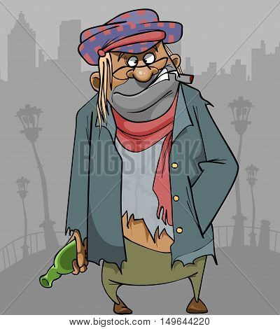 cartoon homeless man in ragged clothes with a bottle and a cigarette