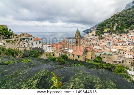 Amalfi, Italy - June 11: Amalfi Coast On June 11, 2016 In Amalfi, Italy. Lying At The Mouth Of A Dee