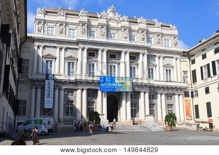 Genoa, Italy - June 26, 2016: The Doges Palace (Palazzo Ducale) is a historical building in Genoa. Once the home of the Doges of Genoa, it is now a museum and a centre for cultural events and arts exhibitions.