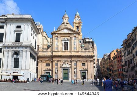 Genoa, Italy - June 26, 2016: Church Chiesa del Gesu. The church was built at the end of the 16th century. It is located at the square Piazza Matteotti in the center of Genoa.