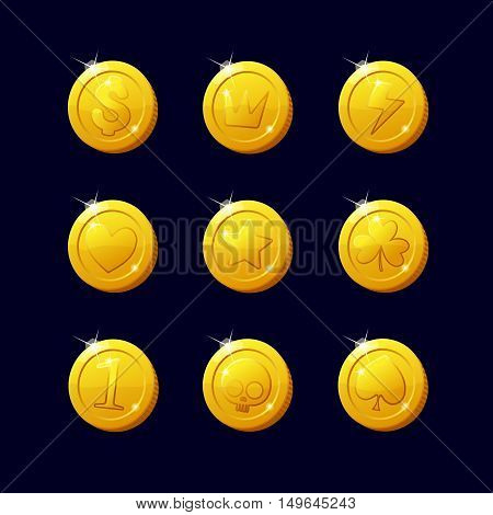 Icons coins for the game interface. Set of different cartoon coins for web, game or application interface. Modern vector illustration game art. Coins dollar.