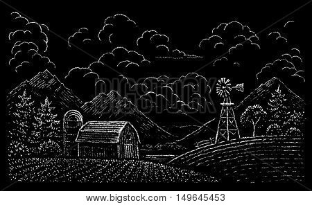 drawing of rural landscape