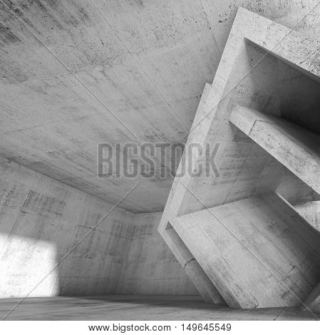 Abstract concrete room with cubic structures installation. Square architecture background 3d illustration