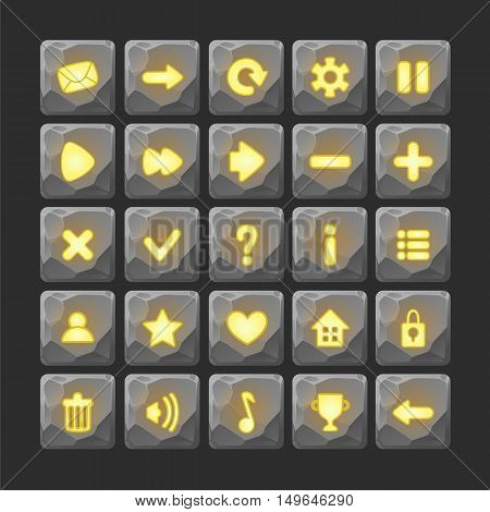 Set of Cartoon stone buttons with web icons, isolated vector elements. Gui elements, vector isolated games assets.menu set for mobile games.vector GUI elements kit.yellow, fire glow