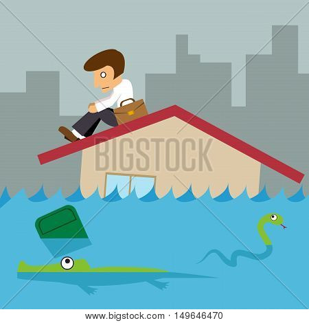 Business man on roof house Flood city background