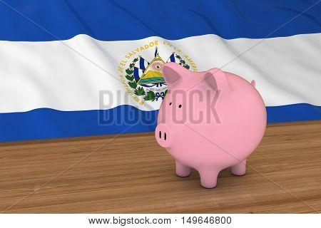 El Salvador Finance Concept - Piggybank In Front Of El Salvadorian Flag 3D Illustration