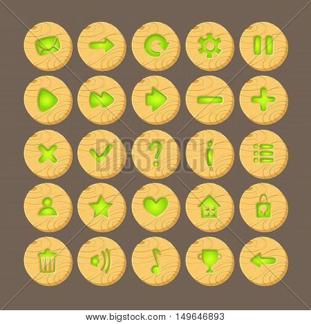 Set of Cartoon wood buttons with web icons, isolated vector elements. Gui elements, vector isolated games assets.menu set for mobile games.vector GUI elements kit.Green glow