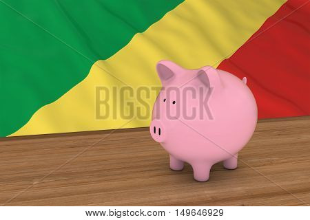Congo Finance Concept - Piggybank In Front Of Congolese Flag 3D Illustration