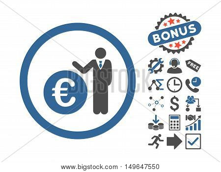 Euro Economist pictograph with bonus images. Glyph illustration style is flat iconic bicolor symbols, cobalt and gray colors, white background.