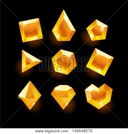 Set of cartoon orange different shapes crystals, gemstones, gems, diamonds vector gui assets collection for game design.isolated vector elements.Gui elements, vector games assets.menu for mobile games