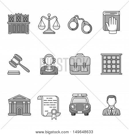 Set of law and justice icons. Black and White outlined icon collection. Judicial system concept. The judge, lawyer, scales, handcuffs, gavel, briefcase, court document, police car, prison grill.Vector