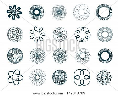 Collection of twenty geometric spirograph vector graphics