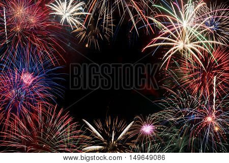 Colorful, festive fireworks display making a background