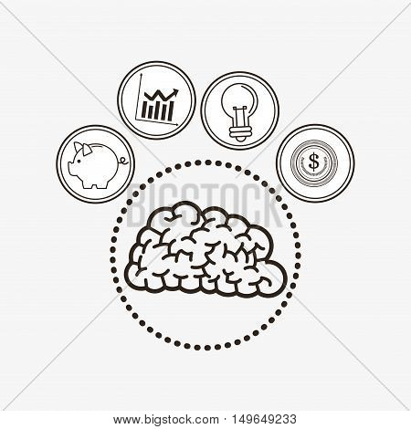 brain with economy related icons line design image vector illustration design