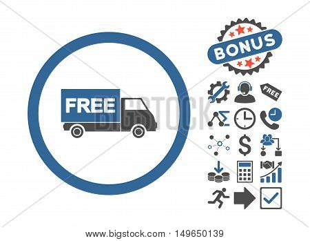 Free Shipment icon with bonus pictures. Glyph illustration style is flat iconic bicolor symbols, cobalt and gray colors, white background.
